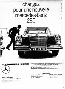 mercedes 280 se publicité