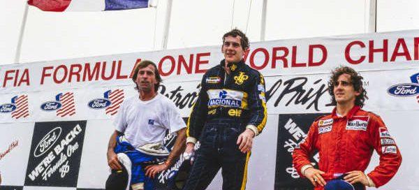 Jacques Laffite avec Prost et Senna 1986 Detroit